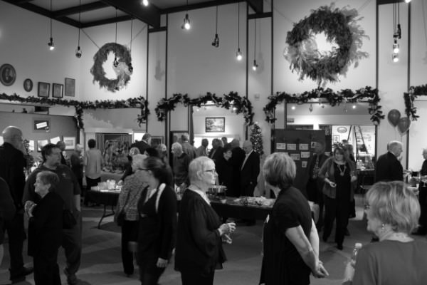 black and white shot of crowd at Trees & Traditions 2015